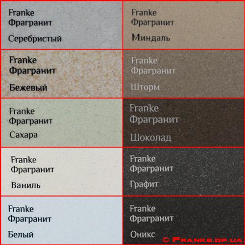 цвета моек Franke